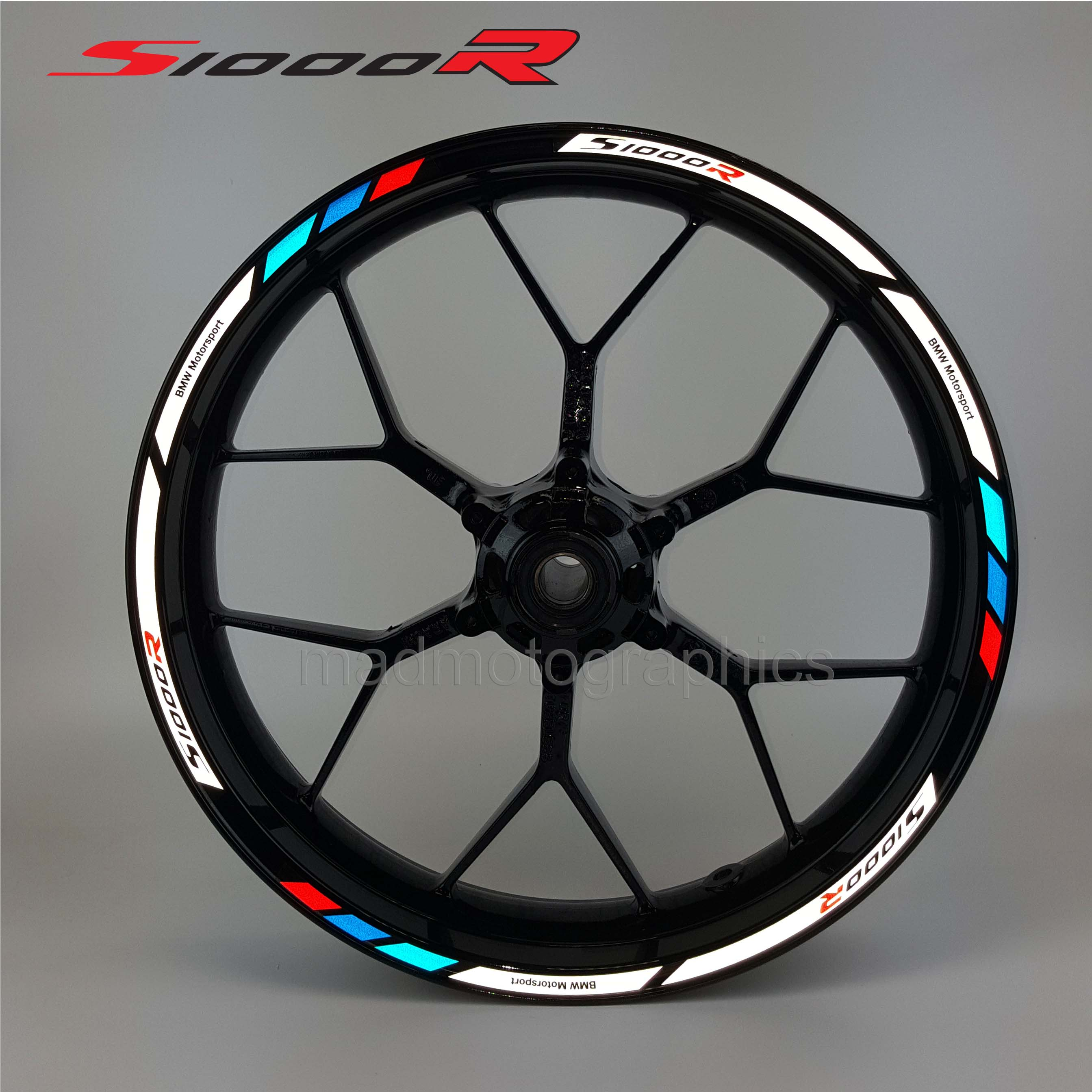 Bmw S1000r Motorcycle Wheel Decals 12 Rim Stickers Laminated Set S1000 R Stripes Vehicle Parts Accessories Motorcycle Tuning Styling