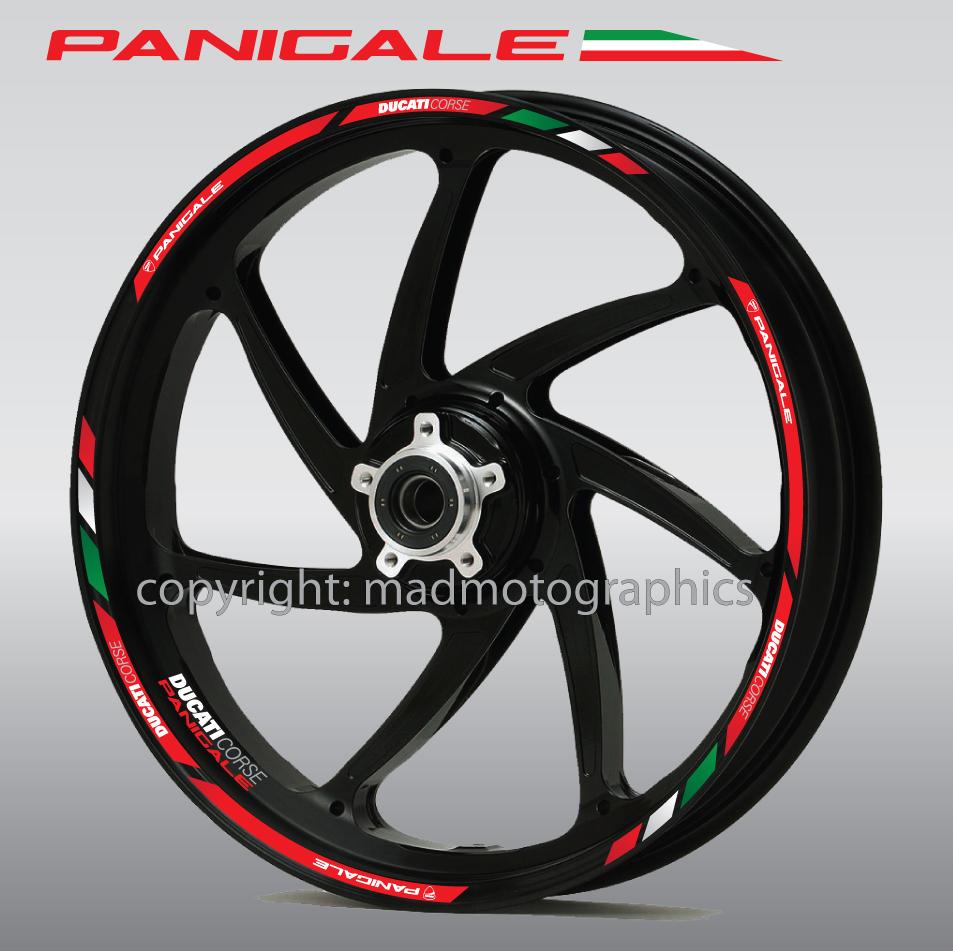Laminated DUCATI DIAVEL small Wheel decals rim stripes 8 pcs